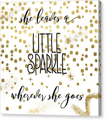 Inspirational Canvas Print - She Leaves A Little Sparkle by Mindy Sommers