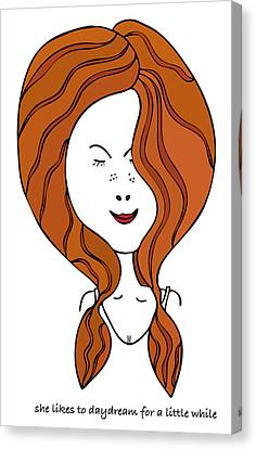 Canvas Print featuring the drawing She Likes To Daydream For A Little While by Frank Tschakert