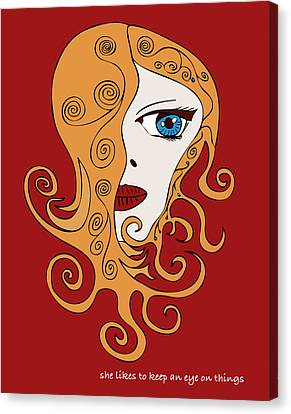 She Likes To Keep An Eye On Things Canvas Print by Frank Tschakert
