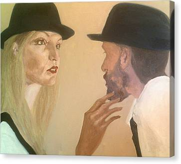 Disdainful Canvas Print - She Touches His Beard And Looks by Peter Gartner