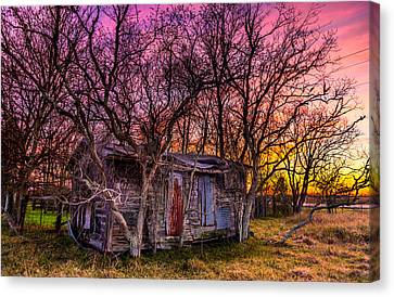 Shed And Sunset Canvas Print by Micah Goff