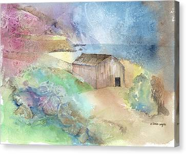 Shed By A Lake In Ireland Canvas Print by Arline Wagner
