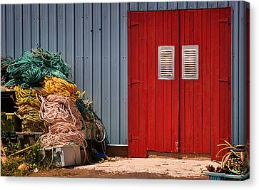 Shed Doors And Tangled Nets Canvas Print by Louise Heusinkveld