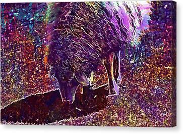 Canvas Print featuring the digital art Sheep Animal Animals Wool Meadow  by PixBreak Art