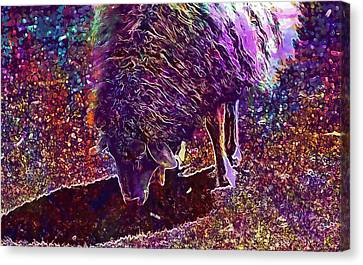 Canvas Print featuring the digital art Sheep Animal Animals Wool Meadow  by PixBreak Art