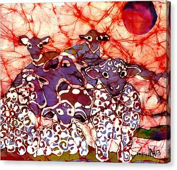 Sheep At Sunset Canvas Print