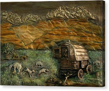 Sheep Herder's Wagon From Snowy Range Life Canvas Print by Dawn Senior-Trask
