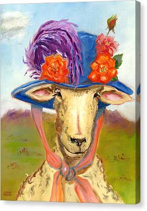 Sheep In Fancy Hat Canvas Print by Susan Thomas