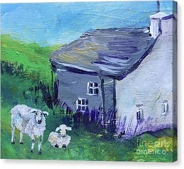 Canvas Print featuring the painting Sheep In Scotland  by Claire Bull