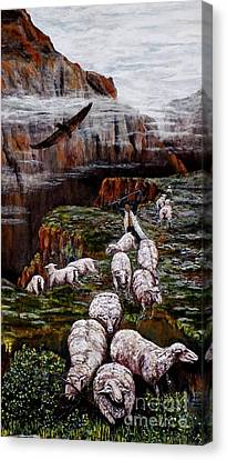 Sheep In The Mountains  Canvas Print by Judy Kirouac