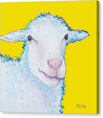 Sheep Painting On Yellow Background Canvas Print
