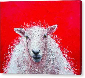 Sheep Painting Victor Canvas Print by Jan Matson