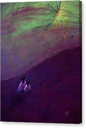 Canvas Print featuring the digital art Sheep Watch The Fireworks  by Jean Moore
