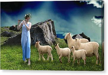 Canvas Print featuring the mixed media Sheep Whisperer by Marvin Blaine