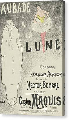 Sombre Canvas Print - Sheet Music Aubade A La Lune by MotionAge Designs