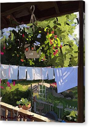 Sheets And Pillow Cases On The Line With Lantana Flowers Canvas Print