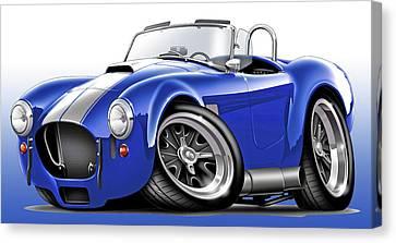 Shelby Cobra Blue-white Car Canvas Print by Maddmax
