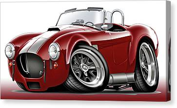 Shelby Cobra Maroon-white Car Canvas Print by Maddmax