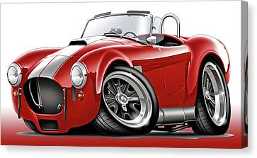 Shelby Cobra Red-white Car Canvas Print by Maddmax