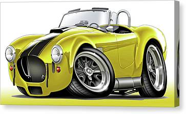 Shelby Cobra Yellow-black Car Canvas Print by Maddmax