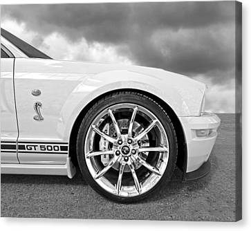 Shelby Gt500 Wheel Black And White Canvas Print by Gill Billington