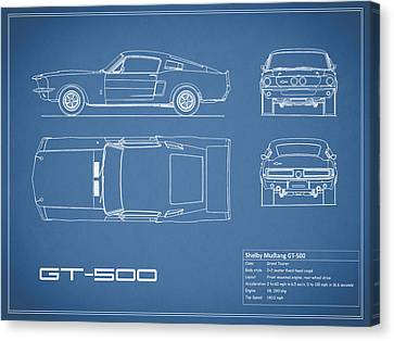 Ford Mustang Canvas Print - Shelby Mustang Gt500 Blueprint by Mark Rogan