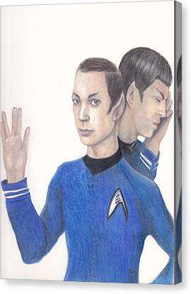 Sheldon Cooper Spock Canvas Print by Karen Stitt