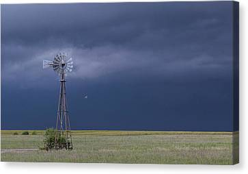 Shelf Cloud And Windmill -02 Canvas Print