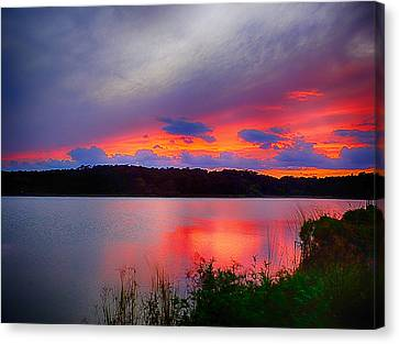Canvas Print featuring the photograph Shelf Cloud At Sunset by Bill Barber