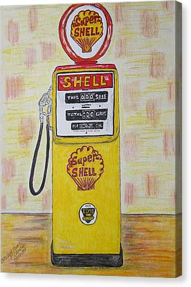 Canvas Print featuring the painting Shell Gas Pump by Kathy Marrs Chandler