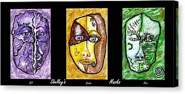 Canvas Print featuring the painting Shelleys Mask Split Broken Alive by Shelley Bain
