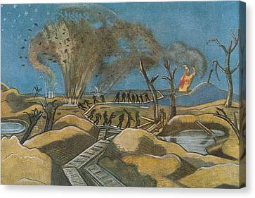Shelling The Duckboards Canvas Print by Paul Nash