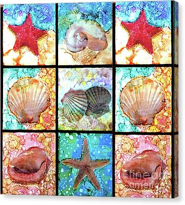 Shells X 9 Canvas Print by Alene Sirott-Cope