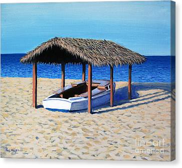 Block Island Canvas Print - Sheltered Boat by Paul Walsh