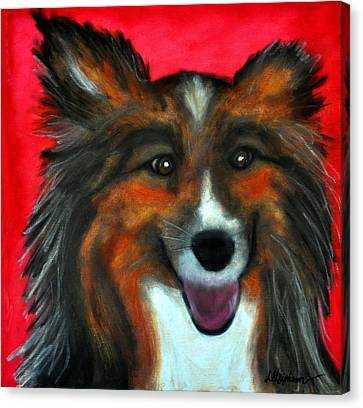 Canvas Print featuring the painting Sheltie- Maggie by Laura  Grisham