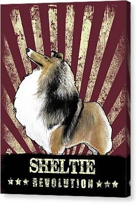 Shetland Sheepdog Canvas Print - Sheltie Revolution by John LaFree