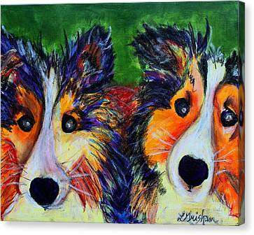 Canvas Print featuring the painting Sheltie- Whisper And Secret by Laura  Grisham