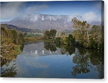 Shenandoah River South Fork - Snow On The Mountains - Virginia Canvas Print