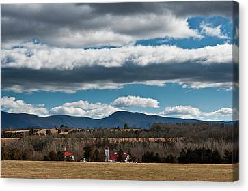 Canvas Print featuring the photograph Shenandoah Valley Farm Winter Skies by Lara Ellis