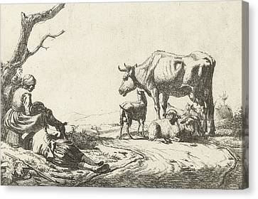 Shepherd And Shepherdess With Cattle Canvas Print by Adriaen van de Velde