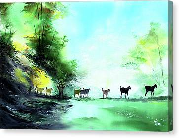 Canvas Print featuring the painting Shepherd by Anil Nene