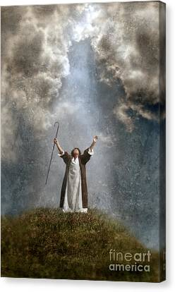 Shepherd Arms Up In Praise Canvas Print by Jill Battaglia