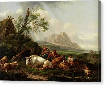 Shepherd With Cows Canvas Print