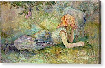 Shepherdess Resting Canvas Print by Berthe Morisot