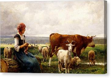 Shepherdess With Cows And Goats Canvas Print by Julien Dupre