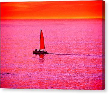 Sherbert Sunset Sail Canvas Print by Michael Durst