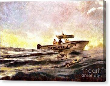 Sheriff At Sea - Florida Canvas Print by Janine Riley