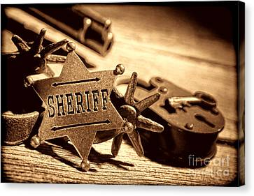 Sheriff Tools Canvas Print by American West Legend By Olivier Le Queinec