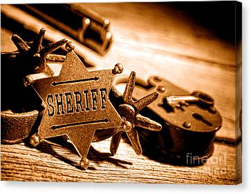 Law Enforcement Canvas Print - Sheriff Tools - Sepia by Olivier Le Queinec