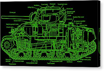 Canvas Print featuring the drawing Sherman M4a4 Tank by Robert Geary